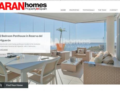 Diseño de pagina web Aran Homes