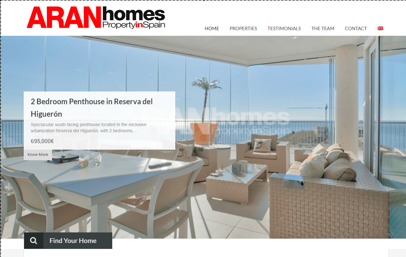 Diseño de pagina web Aran Homes